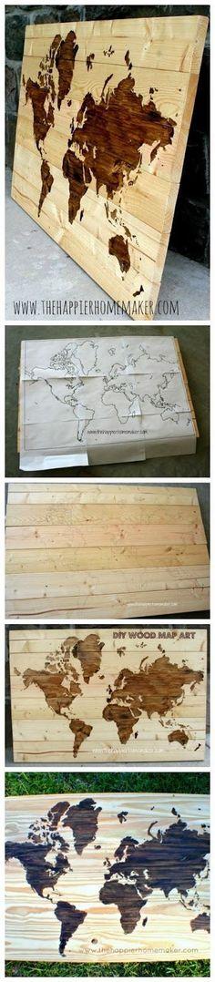 DIY Wooden World Map Art