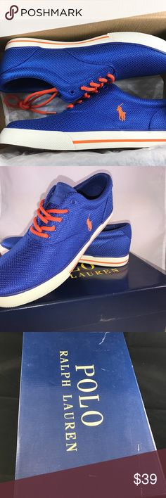 Polo Ralph Lauren Men's Vaughn Fashion Sneaker NWT Fresh brand new w/tags, Polo Ralph Lauren shoes for men. Vaughn Fashion Sneaker. Size 10.5. Blue w/orange. OFFERS ACCEPTED! PLEASE SUBMIT YOUR BEST OFFER TO US. We look forward to satisfying you as a customer. Let's do business! Polo by Ralph Lauren Shoes Sneakers