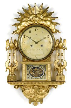 A Swedish Neoclassical giltwood wall clock John Sederlund, Stockholm, late 18th century