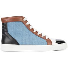 Louis Leeman contrast lace up hi-tops (£575) ❤ liked on Polyvore featuring men's fashion, men's shoes, men's sneakers, blue, mens blue sneakers, mens high top sneakers, mens lace up shoes, mens blue shoes and louis leeman men's shoes