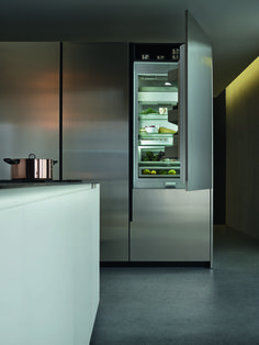 Varenna_PHOENIX_Refrigerator tall units with steel doors and carbone embossed lacquered vertical spacer