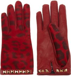 Calf Hair and Leather Gloves - valentino