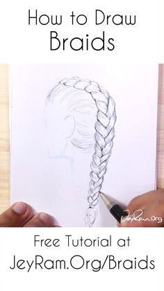 Learn how to draw braids from any angle and on the head with this step by step tutorial. We will simplify down the structure and slowly build up from basic guidelines to shading. This method works for fishtail braids, dutch braids, french braids, and many Dutch Braids, Fishtail Braids, French Braids, Braids Easy, Braids Cornrows, Fulani Braids, Doodle Drawing, Drawing Tips, Drawing Ideas