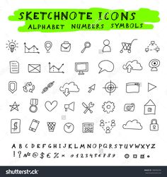 Doodle Icons, Alphabet And Symbols Set. Vector Sketch Note ...
