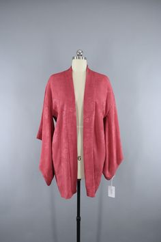 1930s Vintage Silk Haori Kimono Jacket in Dusty Rose Pink