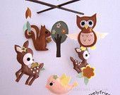 """Ready To Ship Baby Mobile - Brown Neutral crib Mobile - """"Kawaii Animals In the Dark Jungle"""" Mobile  (Custom Color Available)"""