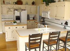The finish I want on my cabinets - and how it looks with white appliances.