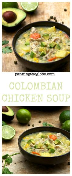 Ajiaco: Colombian Chicken Soup: a one pot dinner with tender chicken, potatoes and corn in a creamy broth that has no cream or dairy - it's thickened with corn and potatoes Columbian Recipes, Colombian Cuisine, Colombian Dishes, Cooking Recipes, Healthy Recipes, Cuban Recipes, Chicken Soup Recipes, Hearty Chicken Soup, Vegetarian Chicken