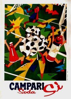 Original vintage poster CAMPARI SODA SI APERITIF SOCCER c.1990