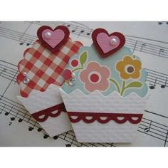 handmade scrapbook embellishments - Cupcake Scallop circle punch, heart punches, rhinestone and pearls