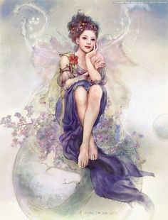 Lovely in Lilac pretty sitting fairy