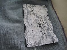 How to patch jeans using lace {a tutorial}