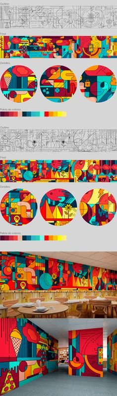 Office Mural, Large Scale Art, Street Mural, Graffiti Murals, Mural Wall Art, Environmental Graphics, Geometric Art, Art Education, Digital Illustration