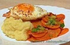 Hönigmöhren mit Lauchzwiebeln zu Kartoffelpüree