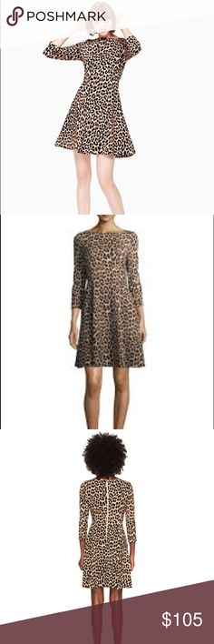 """Kate Spade New York Leopard Ponte Dress, NWT Kate Spade New York Leopard Ponte Dress, NWT, in color """"classic camel"""" size 2. Electrify your look with the bold brilliance of the Kate Spade New York® Leopard Ponte Dress. Retails for $248.  Details: Fit and flare silhouette Bateau neckline 3/4 sleeves Center back zip closure Allover leopard print Straight hem  Measurements: Length: 34 inches; product measurements were taken using a size 2.   Fabric: 83% viscose 15% polyamide 2% elastane kate…"""