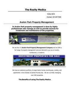Avalon Park Property Management by Property Management Orlando via slideshare