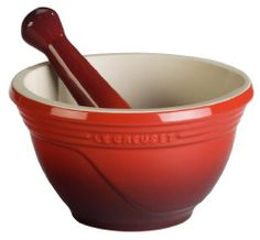 Le Creuset Stoneware 10-Ounce Mortar and Pestle, Cherry by Le Creuset. $34.95. Unglazed, abrasive interior and pestle tip for efficient crushing and grinding. Measures approximately 5 by 4 by 5 inches. 10-ounce mortar and pestle for preparing flavorful herbs, spices, and pestos. Freezer-, microwave-, broiler-, and oven-safe (up to 500 degrees F); dishwasher-safe. Made of high-fired stoneware with enamel exterior; resists chipping and cracking. Maximize flavor by grinding s...