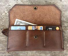 Brown womens wallet Slim womens wallet Long travel wallet