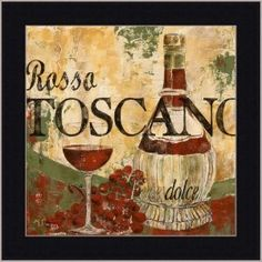 Wine Tuscan Italian Dining Room Decor Art Print Framed
