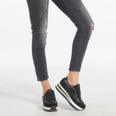 Pantofi sport cu platforma negri de dama din materiale pe exterior combinate cu detalii metalice it240118-35 | Fashionmix.ro Mustang, Madrid, Vans, Skinny Jeans, Metal, Sneakers, Casual, Shoes, Fashion