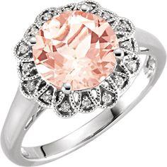 14kt White Gold Round Morganite & .08 CTW Diamond Floral Halo Ring