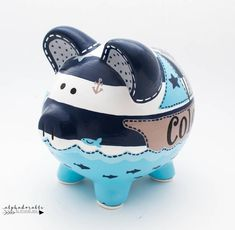 Nautical Striped Personalized Piggy Bank in Navy, Blue and Grey with Whale, Sailboat and Anchor - - Hand Painted Ceramics, Porcelain Ceramics, The Little Couple, Personalized Piggy Bank, Stroller Blanket, Cute Crafts, Kids Crafts, Must Have Items, Gold Hands