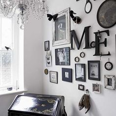 I want to do a collection of frames like this above our bed
