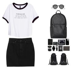 """Untitled #86"" by anais-h ❤ liked on Polyvore featuring Acne Studios, Monki, Ex Voto Paris, Bella Freud, Movado, Eight & Bob, Nordstrom, Passport, Converse and H&M"