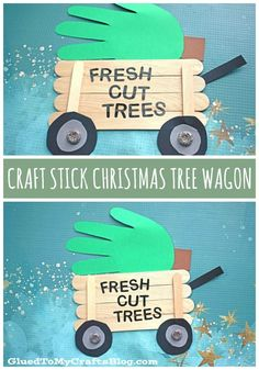 Popsicle Stick Christmas Tree Wagon – Kid Craft - Handprint Christmas Tree Paper Cutout Driving by with another unforgettable Christmas art project idea! Come see how I made this unique Popsicle Stick Christmas Tree Wagon craft! Handprint Christmas Tree, Stick Christmas Tree, Preschool Christmas Crafts, Christmas Art Projects, Daycare Crafts, Winter Crafts For Kids, Craft Stick Crafts, Toddler Crafts, Kids Christmas