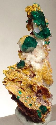 Dioptase green crystals on Dolomite matrix / Tsumeb Mine, Namibia