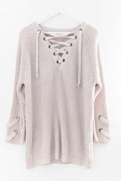 Soft Blush Lace-Up Sweater Love Street Apparel d3d3fd818