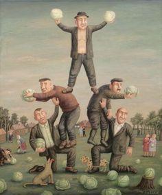 Cabbage celebration by Vladimir Lubarov. 8 September - 18 October in Dom Naschokina Art Gallery. Folk, Five In A Row, Bolshoi Ballet, Naive Art, Shades Of Green, Illustrators, Graphic Art, Art Gallery, Illustration Art