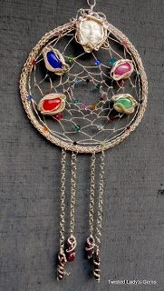 Twisted Lady's Gems: Dream Catcher Handmade Swarovski Crystals Dragon Veins Agate Wire Wrapped & Viking Knit