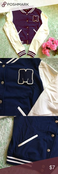 🏆Cropped Varsity Jacket 🏆 Super cute! Soft stretch fabric. Navy and cream color. Forever 21 Jackets & Coats