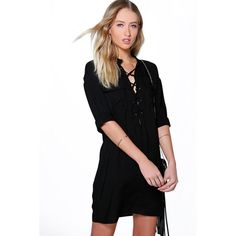 Boohoo Arianna Lace Up Utility Pocket Shirt Dress ($40) ❤ liked on Polyvore featuring dresses, black, evening dresses, long shirt dress, holiday dresses, cami bodycon dress и day to night dresses