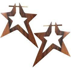 Hand Carved Organic Sono Wood Hollow Star Hanger Earrings organic, horn, tribal, boho, bohemian, earrings, tapers, plugs, body candy, body jewelry, piercing, #wood #hanger #earrings #stars $11.99