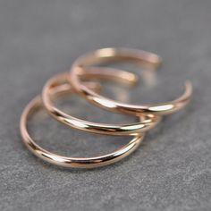 Rose Gold Toe Rings, Set of 3 Stacking, 14K Rose Gold fill, Kristin Noel Designs