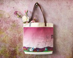 Tragetaschen aus Baumwolle und Leder für Frauen, Tasche Strand, Sommer Tasche, Toskana Italien Landschaftsmalerei Reisen Griffe, Leder Tasche Tasche Tasche Rennen