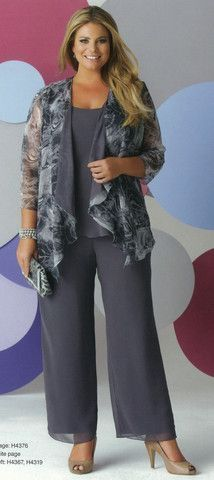 Love the gray for dressy - Pant Suit 09 - Isabella Fashions Trendy Dresses, Plus Size Dresses, Plus Size Outfits, Fall Dresses, Wedding Dresses, Tunic Dresses, Dress Tops, Wrap Dresses, Ivory Dresses