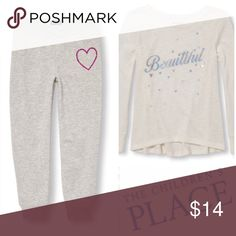 "Cozy Comfort Tee & Fitted Sweats Get Cozy after a long swim or on a cool summer night -with this super soft top & fitted sweatpants. Soft, Lightweight Knit Top   🍬Made of 58% cotton/42% polyester jersey in a lightweight sweater knit  🍬Graphic ""beautiful"" in silver with silver stars  🍬Extended shoulder seam  🍬Pre-washed for an extra-gentle feel and to reduce shrinkage Soft Skinny Sweats  💐55/45 Cotton/Polyester 💐Ribbed Knit Waist & Cuffs  💐Skinny Fit  💐Non-functional bow at front…"