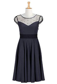 I <3 this Illusion bodice poplin dress from eShakti