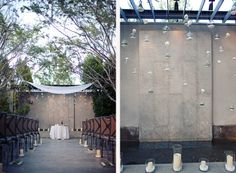 hanging mini terrarium and test tube ranunculas as ceremony backdrop