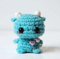 Mini Blue Monster - Kawaii Amigurumi Plush. $15.00, via Etsy.