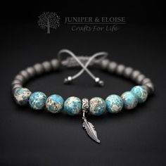 Mens Bracelet Turquoise Gray Bracelet925 Silver Feather