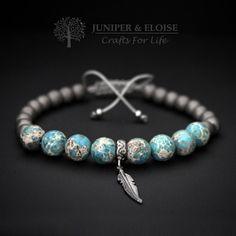 Mannen armband blauw grijze armband 925 zilver veer charme