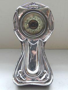 ART NOUVEAU SOLID SILVER CASED CLOCK HALLMARKED BIRMINGHAM 1906 #HenryWilkinson
