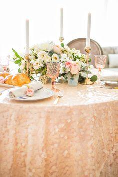 gold sequin bridal shower linens for brunch http://itgirlweddings.com/boudoir-bridal-shower/