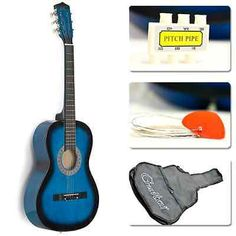 NEW Guitar Starter Acoustic Package 38 Blue Student ,Gig Bag, Strap, Pitch Pipe