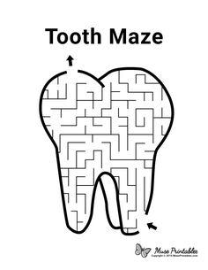 Mazes For Kids Printable, Preschool Printables, Worksheets For Kids, Activities For Kids, Free Printable, Routine Printable, Kids Dentist, Dental Kids, Free Dental