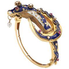 Gem Set Enamel Gold Snake Bangle Bracelet | From a unique collection of vintage…